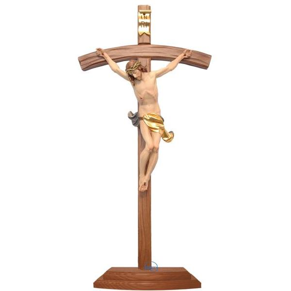 Standing crucifix-Christ's body with curved carved cross and base - COLOR